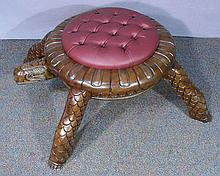 UNUSUAL HAND CARVED MAHOGANY AND UPHOLSTERED TURTLE STOOL