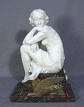 VERY FINE ART NOVEAU CARARRA MARBLE WOMAN ON HEAVY MARBLE BASE