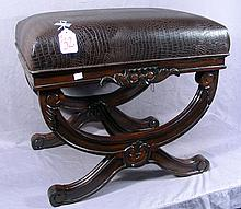 HAND CARVED MAHOGANY AND FAUX LEATHER UPHOLSTERED BENCH