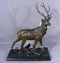 BRONZE SCULPTURE OF STANDING DEER