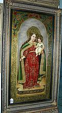 LARGE OIL ON CANVAS:  MADONNA AND CHILD BY ORTIZ