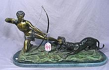 HEAVY BRONZE SCULPTURE OF HUNTER WITH TIGER