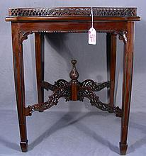 VERY FINE HAND CARVED ENGLISH MAHOGANY SIDE TABLE