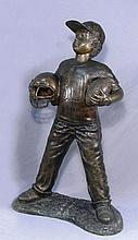 BRONZE SCULPTURE OF YOUNG FOOTBALL PLAYER
