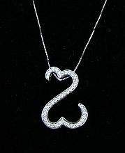 LADIES 14K W.G. & DIAMOND OPEN HEART NECKLACE