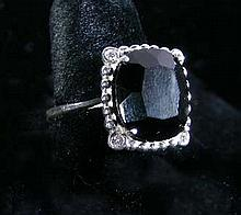 TIFFANY & COMPANY STERLING SILVER, ONYX AND DIAMOND RING