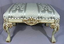 HAND CARVED ITALIAN WOOD AND UPHOLSTERED BENCH