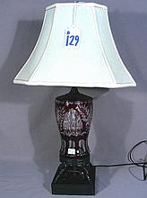 VINTAGE RUBY OVERLAY CRYSTAL AND METAL TABLE LAMP