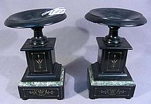 PAIR ANTIQUE MARBLE AND SLATE URNS