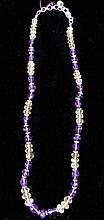 STERLING SILVER, AMETHYST AND CITRINE BEADED NECKLACE