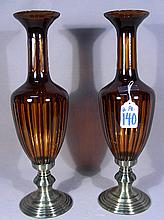 PAIR METAL AND AMBER COLORED CRYSTAL URNS