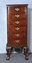 CHIPPENDALE STYLE MAHOGANY TALL CHEST OF DRAWERS