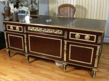 HEAVY CARVED FRENCH DESK WITH HEAVY BRONZE ORMOLU AND LEATHER TOP