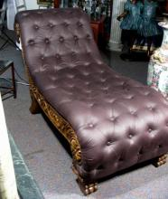 FABULOUS HAND CARVED LEATHER CHAISE LOUNGE