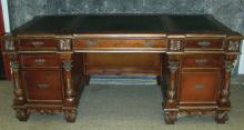 HAND CARVED WOOD AND INLAID DESK WITH LEATHER TOP