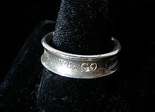 TIFFANY & CO. STERLING SILVER BAND DESIGN RING