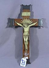 VINTAGE CARVED WOOD AND METAL CRUCIFIX