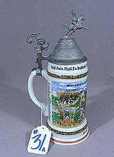 GERMAN PORCELAIN AND PEWTER STEIN