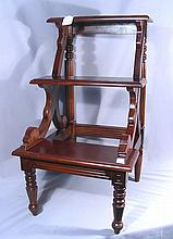 HAND CARVED MAHOGANY LIBRARY STEPS