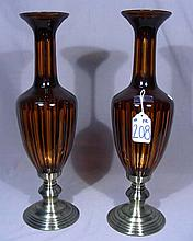 PAIR FINE AMBER, CRYSTAL AND METAL URNS