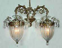 PAIR BACCARAT STYLE METAL AND CRYSTAL SCONCES