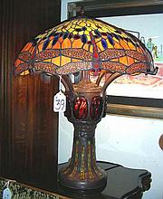 FINE ART GLASS, METAL AND LEADED GLASS DRAGONFLY TABLE LAMP