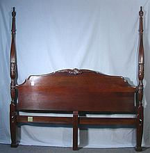 FINE CARVED MAHOGANY FOUR POSTER KING SIZE BED