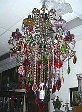 LARGE  MULTI COLORED CRYSTAL CHANDELIER