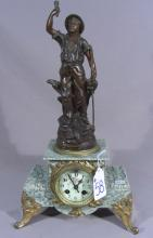 ANTIQUE FRENCH SPELTER AND MARBLE FIGURAL CLOCK