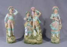 GROUP OF THREE VINTAGE GERMAN BISQUE SCULPTURES
