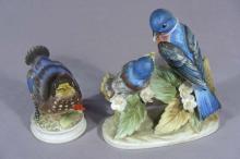 TWO LEFTON PORCELAIN BIRD SCULPTURES