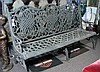 VERY HEAVY OPEN WORK CAST IRON BENCH