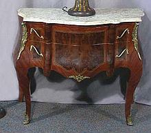 FRENCH STYLE BOMBAY COMMODE WITH MARBLE TOP