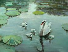 OIL ON CANVAS:  SWANS