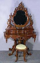 ELABORATE HAND CARVED MAHOGANY DRESSING TABLE WITH STOOL