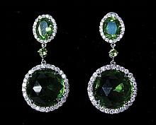 LADIES 14K WHITE GOLD, PERIDOT AND DIAMOND DANGLE EARRINGS