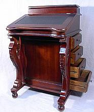 HAND CARVED MAHOGANY AND LEATHER DAVENPORT DESK