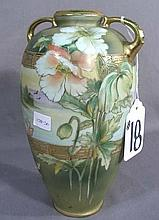 HAND PAINTED NIPPON DOUBLE HANDLED VASE