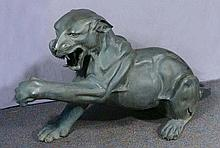 LARGE BRONZE SCULPTURE OF GROWLING PANTHER