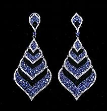 PAIR LADIES 18K WHITE GOLD, SAPPHIRE AND DIAMOND DANGLE EARRINGS