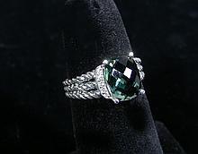 DESIGNER DAVID YURMAN STERLING SILVER, TOURMALINE & DIAMOND RING