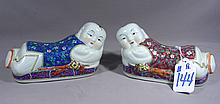 PAIR CHINESE PORCELAIN BABY PILLOWS