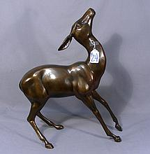 BRONZE SCULPTURE OF STANDING FAWN