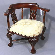 HAND CARVED ENGLISH MAHOGANY CHILD'S CORNER CHAIR