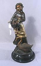 LARGE BRONZE SCULPTURE OF YOUNG GIRL WITH DUCK