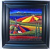 VERY COLORFUL OIL ON CANVAS:  LANDSCAPE