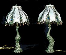 PAIR UNUSUAL COMPOSITION PEACOCK TABLE LAMPS