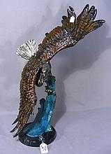 BRONZE SCULPTURE OF SOARING EAGLE