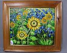COLORFUL OIL ON CANVAS:  STILL LIFE SUNFLOWERS