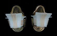 PAIR METAL AND FROSTED GLASS ART DECO WALL SCONCES